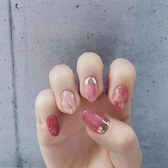 圆形粉色银色晕染日式水波纹美甲图片