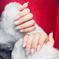 圆形粉色裸色银色钻日式水波纹金属饰品美甲图片