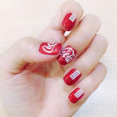 方圆形红色手绘夏天可乐美甲图片