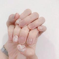 圆形裸色手绘简约石纹短指甲手绘美甲短指甲专题美甲图片