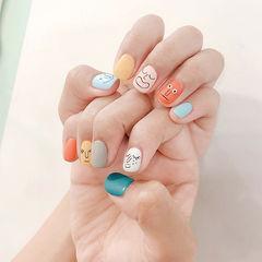 方圆形橙色裸色蓝色黄色灰色手绘可爱表情韩式磨砂美甲图片
