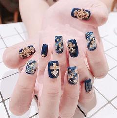 方形蓝色金箔手绘晕染金属饰品韩式美甲图片