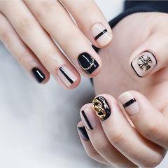 方圆形黑色白色克罗心韩式金属饰品美甲图片