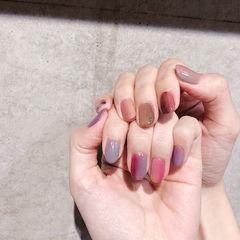 圆形粉色紫色竖形渐变跳色美甲图片