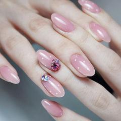 圆形粉色钻波点简约美甲图片