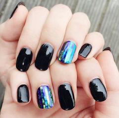 方圆形蓝色黑色钻石贴韩式美甲图片