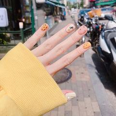 圆形粉色黄色钻波点美甲图片