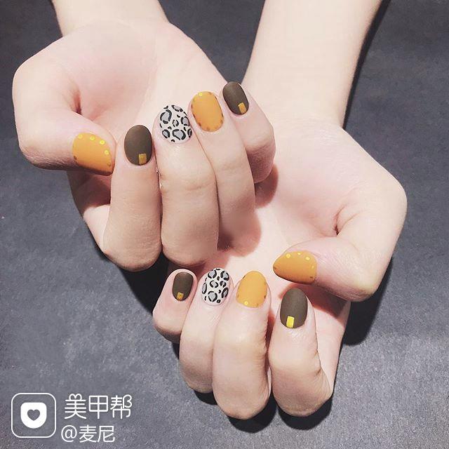 圆形黄色白色手绘豹纹跳色短指甲美甲图片