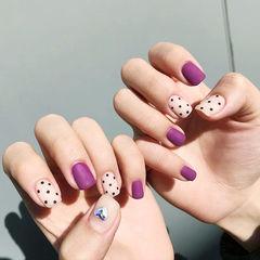 方圆形紫色白色波点磨砂美甲图片
