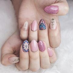 圆形粉色裸色蓝色手绘日式美甲图片