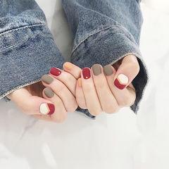 圆形红色黄色灰色跳色磨砂短指甲美甲图片