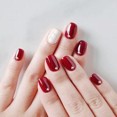 方圆形红色白色毛衣纹美甲图片