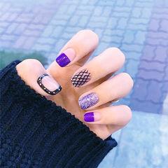 方圆形紫色黑色网纹平法式韩式美甲图片