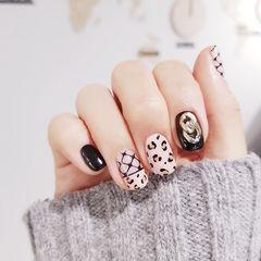 方圆形黑色白色手绘豹纹网纹金属饰品韩式美甲图片