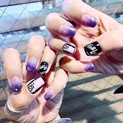 方圆形紫色黑色渐变手绘韩式美甲图片