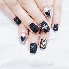 方圆形黑色银色手绘心形克罗心镜面韩式美甲图片