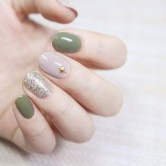 圆形绿色裸色银色跳色美甲图片