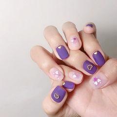 方圆形紫色裸色亮片磨砂美甲图片