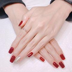 方圆形红色银色简约纯色新娘显白美甲图片
