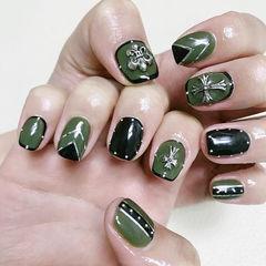 方圆形绿色黑色金银线克罗心韩式美甲图片