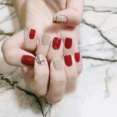 方圆形红色裸色毛衣纹美甲图片