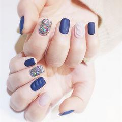 方圆形蓝色裸色毛衣纹磨砂美甲图片
