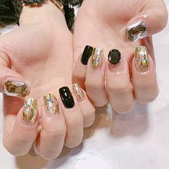 方圆形黑色金箔钻韩式美甲图片