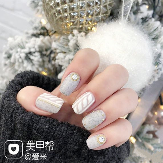 方圆形灰色白色毛衣纹磨砂皮草胶美甲图片