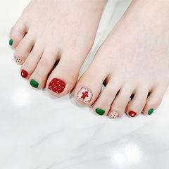 脚部红色绿色手绘可爱圣诞磨砂美甲图片