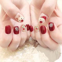方圆形红色白色钻手绘圣诞圆法式美甲图片