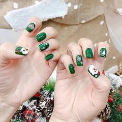 方圆形绿色白色手绘圣诞美甲图片