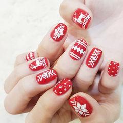 方圆形红色白色菱形圣诞美甲图片