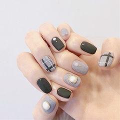 方圆形黑色灰色线条珍珠磨砂皮草胶美甲图片