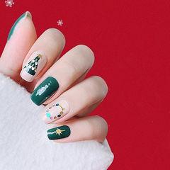 方圆形绿色裸色手绘圣诞亮片美甲图片
