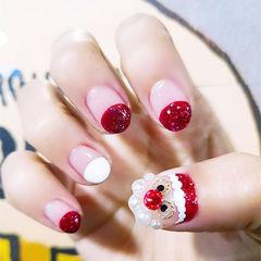 圆形红色白色手绘圣诞圆法式美甲图片