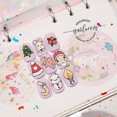 圆形红色绿色粉色裸色手绘可爱圣诞美甲图片