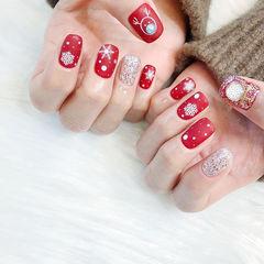 方圆形红色银色雪花珍珠圣诞磨砂美甲图片