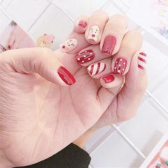 方形红色手绘圣诞斜纹美甲图片