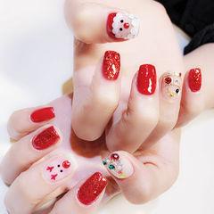 方圆形红色亮片钻圣诞美甲图片