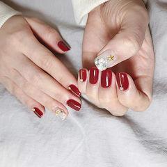 方圆形红色钻圣诞美甲图片