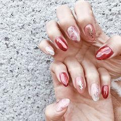 圆形红色粉色晕染新娘日式美甲图片