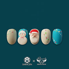 圆形蓝色红色裸色手绘圣诞可爱美甲图片