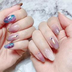 圆形香芋紫色渐变手绘晕染日式美甲图片