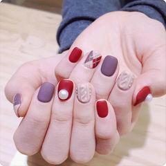 方圆形红色紫色裸色毛衣纹菱形磨砂美甲图片