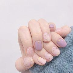方圆形香芋紫色裸色亮片磨砂美甲图片