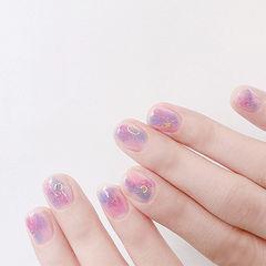 圆形粉色紫色晕染美甲图片