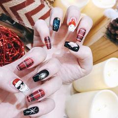 方圆形红色黑色格纹手绘圣诞美甲图片