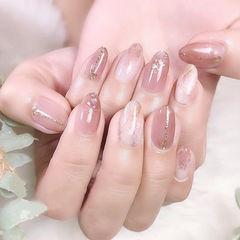 圆形粉色裸色晕染简约上班族日式美甲图片