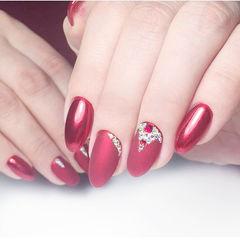圆形红色磨砂钻新娘美甲图片