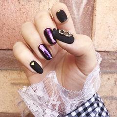 方圆形黑色镜面紫色金属饰品韩式美甲图片
